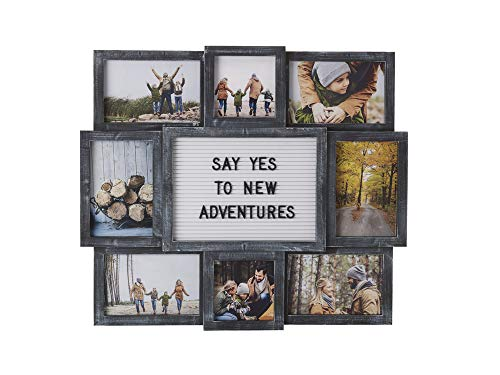 Melannco Customizable Letterboard 8-Opening Photo Collage, 19 x...