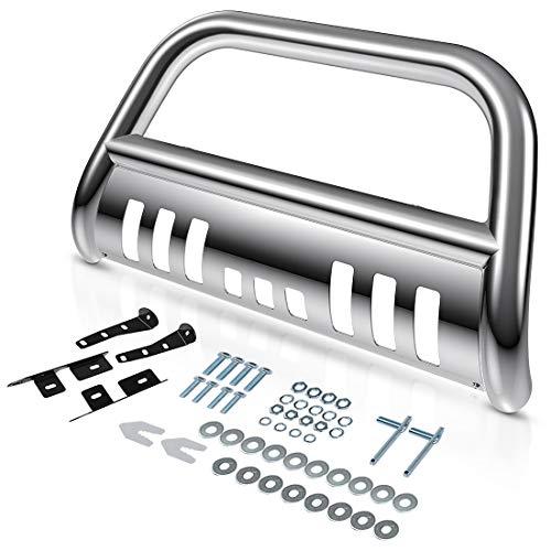 AUTOSAVER88 Bull Bar Compatible for 99-07 Chevy Silverado 1500/GMC Sierra 1500/00-06 Chevy Suburban 1500/Chevy Tahoe/02-06 Chevy Avalanche 1500 3' Grill Brush Push Guard - Chrome