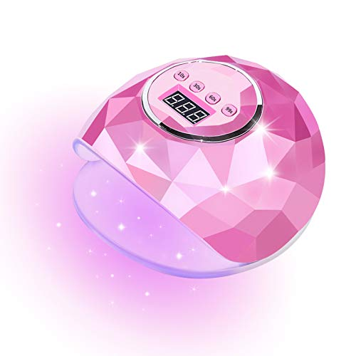 Nail Dryer Led Nail Lamp Nail Dryers for Gel and Regular Polish Professional Salon Curing Lamp Timer Setting Smart Sensor (Pink)