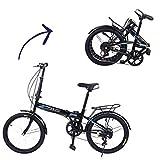 20in Folding Bike, 7 Speed City Bike Road Urban Commuter Tires High Tensile Leisure Lightweight Aluminum Mini Compact Bike Bicycle for Kids&Adults Bicycle Light (Bike)