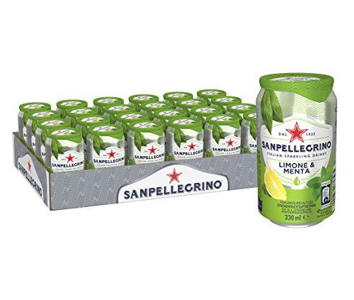 Sanpellegrino | Zitrone-Minze Limonade | Limone E Menta | Hoher Fruchtanteil 16% Zitronensaft aus Zitronensaftkonzentrat | Säuerlich süße Geschmacksnote |24er Pack (24 x 0,33l) Einweg Dosen