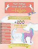 Mon méga livre de jeux pour filles XXL - Cahier d'activités +200 pages de jeux avec...