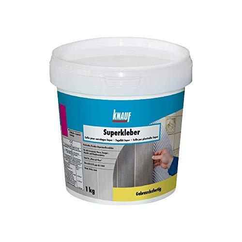 Knauf Superkleber, Dispersions-Kleber, Fliesen-Kleber 1-kg – Fliesen-Klebstoff und Flex-Klebstoff für Dusche und Bad, zur Anwendung beim Fliesen-Legen, innen und außen