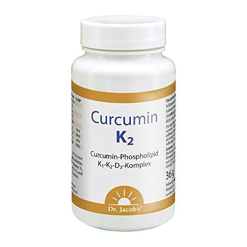 Dr. Jacob's Curcumin K2 60 Kapseln I 29-mal höhere Bioverfügbarkeit von Curcumin im Phospholipid-Komplex I mit den Vitaminen D3, K1 und K2 für Knochen und Immunsystem