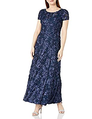 Short-sleeve sequined gown featuring allover metallic rosettes and long A-line skirt V-neck at back This style is available in Regular, Plus Size and Petite on Amazon.com Short-sleeve scoop-neck long blue dress