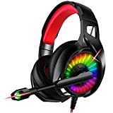 Nivava Gaming Headset for PS4, Xbox One, PC Headphones with Microphone LED Light Mic for Nintendo...