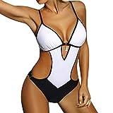 Maillot de Bain 1 Pièce Sexy Pin up pour Femme Monokini Trikini rembourré Push-up Swimwear Bikini Une Piece Bandage Sexy Col V Beachwear 7 Couleurs WINJIN