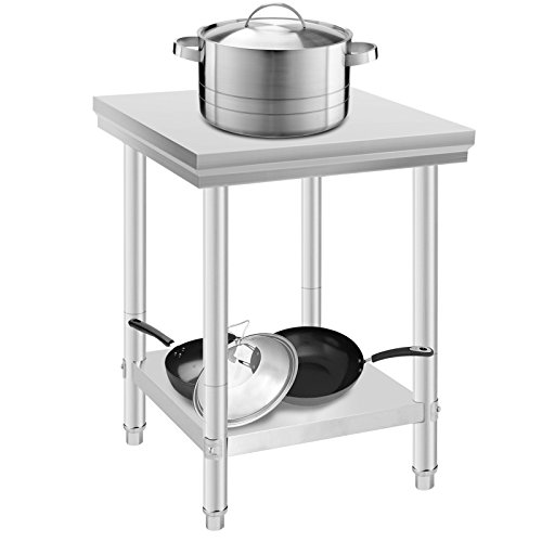 CiaoVasco 60x60x80cm Tavolo da Lavoro per Cucina Professionale Acciaio Inox Cucina Catering Tavolo...
