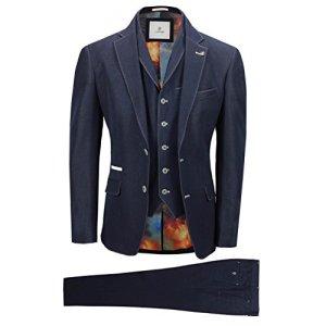 Cavani Mens 3 Piece Suit Navy Blue Stretch Fabric Detailed Smart Tailored Fit Jacket Waistcoat Trouser