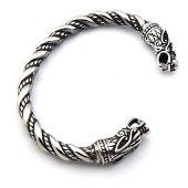 Pulseira Bracelete Masculino Viking Cabeça de Dragão Aço Inoxidável Mitologia Antigo