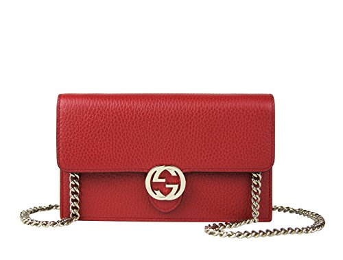 Made of leather, Evening clutch, Snap closure, 18 card slots Small interlocking GG emblem with light gold hardware, 1 money compartments Measurements: 7.5 L x 4.5 H x 1 W inches; Shoulder strap drop 23.5 inches