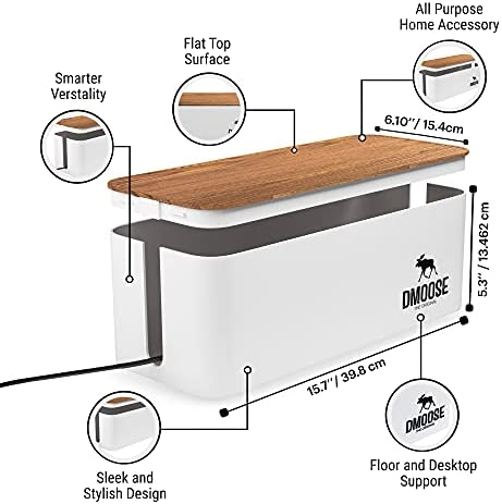 DMoose Cable Management Box, Hide Power Strips Loose Wires Behind TVs, Home Office, Computers, Desks, Entertainment Centers, Cable Box Cord Organizer Made from Electrically Safe ABS Material