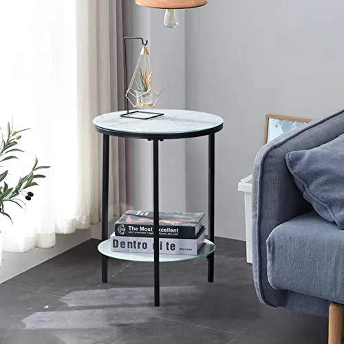 GOLDFAN Tavolino rotondo piccolo in vetro da salotto, tavolino da caffè, per telefoni, 40 x 40 x 55 cm