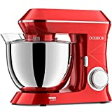 Stand Mixer DOBBOR 8.5QT 6+1 Speeds 660W Kitchen Electric Stand Mixer, Tilt-Head Food Mixer, Commercial Standing Mixer with Dough Hook, Whisk, Beater, Splash Guard & Mixing Bowl for Baking, Red