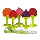 Anneaux de Dentition Bébé Réfrigérateur Jouets de Dentition pour Bébé Fruits Silicone Approuvés par la avec Chaîne Anti-Chute (5 pièces) sans BPA