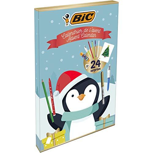 BIC Advent Calendar - 24 Writing Products, 6 Magic Felt Pens/6 Coloured Pencils/4 Colouring Crayons/1 Glue Tube/1 Graphite Pencil/1 Eraser/3 Ball Pens, 24 Postcard & 20 Stickers to colour