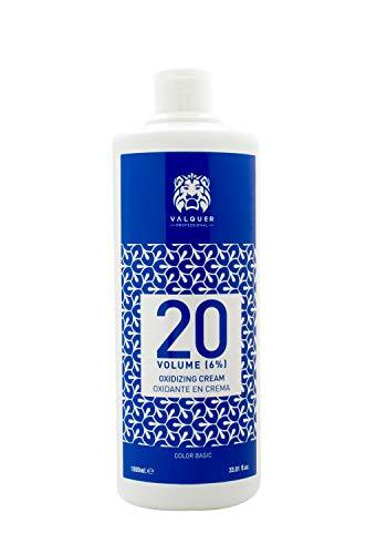 Valquer Profesional Oxigenada Estabilizada en Crema, 20 Volumenes (6%). Coloración capilar permanente. Uso profesional peluquería. Formulación vegana - 1000 Ml