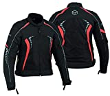 WOMENS MOTORCYCLE BIKERS AIR MESH ARMORED HIGH PROTECTION WATERPROOF JACKET ALL WEATHERS ARMOR WCJ-1844 (Red, XXL)