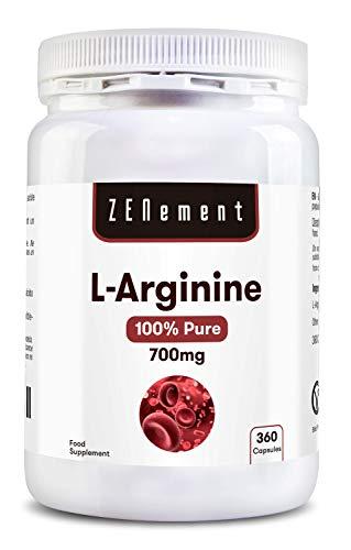 L-Arginina 100% Pura, 700 mg, 360 Cápsulas   Vasodilatador,