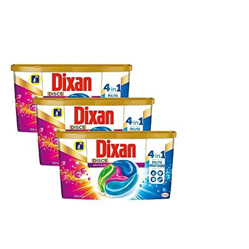 Dixan Discs Multicolor Detersivo Lavatrice Predosato in Capsule per Capi Colorati 4 in 1, 3 x 36 Lavaggi