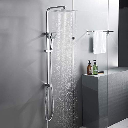 BONADE 304 Edelstahl Duschset, Regendusche Duschsystem, 25 * 25CM Duschkopf mit Verstellbar Duschstange, Duschsäule ink. Handbrause Regenbrause für Badzimmer