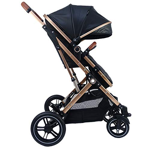 Pixini Kinderwagen gold/schwarz (Kinderwagen LANIA 3in1 mit Babyschale und Zubehör)