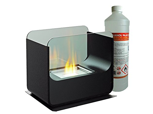 Luxury Table Glass Fireplace Approx. 26 cm incl. 1L bio ethanol Table fire for a cosy atmosphere