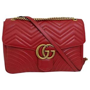 Gucci Marmont 2 Hibiscus Red Heart Chevron Bag Leather Red Italy Handbag New 16
