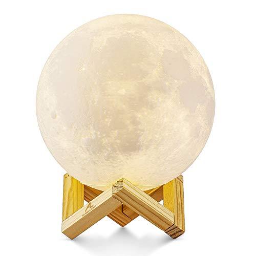 Mondlampe 3D Nachtlicht Dimmbar, ALED LIGHT 15cm LED Mond Lampe Touch Mondlicht Sternenhimmel Lampe...