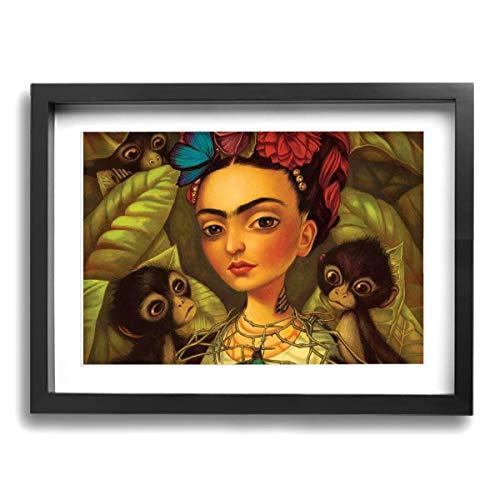 Pintura C Frida Kahlo Mexicana Folk Arte de Pared Pintura Paisaje Lienzo Impresiones Enmarcada para Salón Dormitorio Oficina Decoración 16 x 12 Pulgadas, Madera, Negro, Talla única