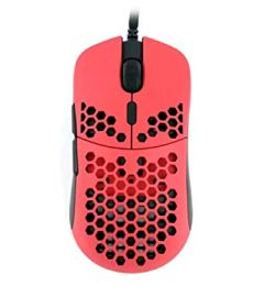 Hati HT-M 3360 Ultra Lightweight Honeycomb Shell Wired Gaming Mouse up to 12000 cpi - 6 Buttons - (63g) (Stiletto Red)