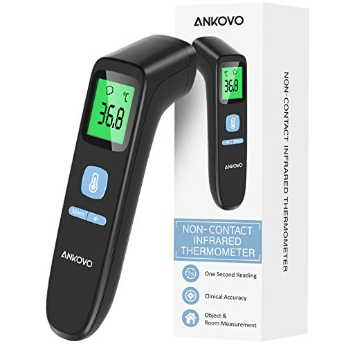 ANKOVO Thermomètre Frontal, Upgrade Thermomètre Infrarouge for Adults and Children Thermomètre Sans Contact with Forehead and Object Mode, Thermomètre infrarouge with LCD Screen, Memory Recall