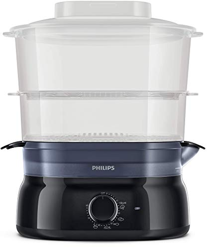 Philips Vaporiere HD9116/90 con infusore di aromi, 2 cestelli, Timer da Cucina per cuocere Pesce, Verdure, Riso e Molto Altro, 900 W, 5 Litri, Nero