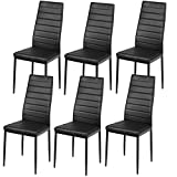 Giantex Set of 6 Dining Chairs, High Back Dining Room Chairs w/Steel Frame, Easy for Cleaning, PU Leather Chairs for Home Kitchen Furniture, Kitchen Chairs, Black