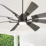 72' Windmill Industrial Rustic Indoor Outdoor Ceiling Fan with Light LED Dimmable Remote Control Imperial Bronze Gray Oak Blades Opal Glass Damp Rated Patio Exterior House Porch Gazebo - Casa Vieja