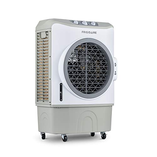 FRIGIDAIRE Indoor and Outdoor Evaporative Cooler, 1650 CFM with Oversized 10.6 Gallon Water Tank and Easy-Glide Casters, FEC1K7GA00, Gray