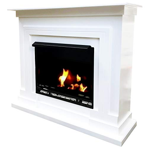 Gel and Ethanol Fireplaces Berlin Model Deluxe Fireplace, White,3-Litre Burner Included