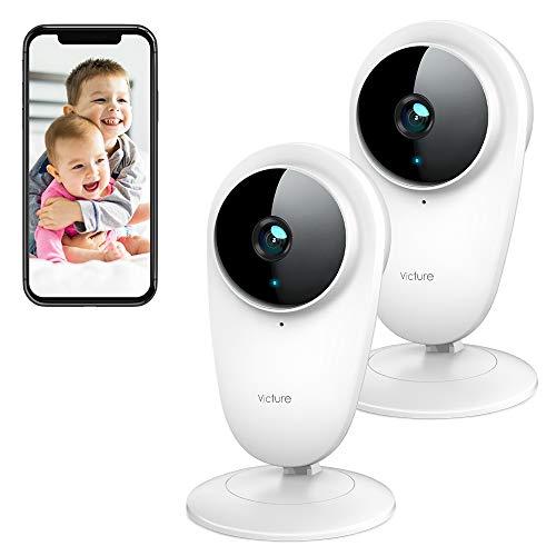 Victure 2 PCS 1080P Telecamera IP di Sorveglianza 2.4G WiFi Interno, Videocamera di sicurezza con Visione Notturna, Suono & Rilevamento del Movimento con Audio Bidirezionale