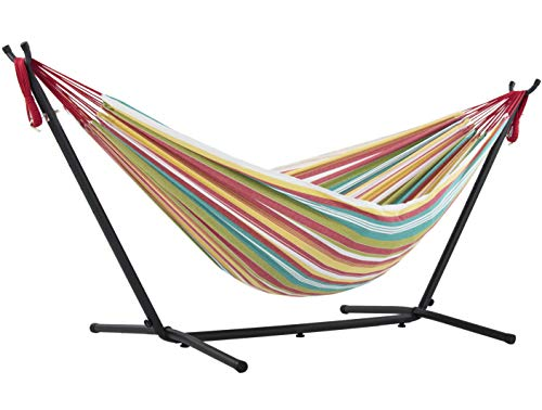 Vivere Double Cotton Hammock with Space Saving Steel Stand, Salsa (450 lb Capacity - Premium Carry Bag Included)