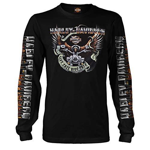 ハーレーダビッドソン ミリタリー - メンズ ブラック 長袖 イーグルグラフィックTシャツ - カデナエアベース   イーグルライド US サイズ: Medium カラー: ブラック