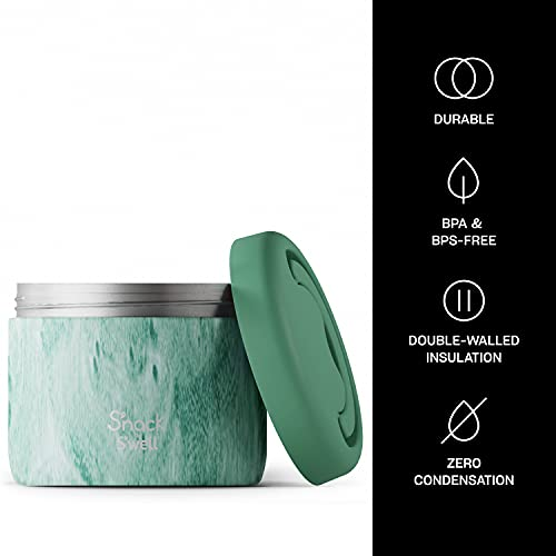 S'nack by S'well Stainless Steel Food Container - 24 Oz - Peppermint Tree - Double-Layered Insulated Bowls Keep Food Cold for 12 Hours and Hot for 7 - BPA-Free