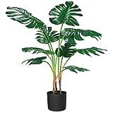 CROSOFMI Plante Artificielle Monstera Tropical Jungle Hawaienne Palmier Fausse Plantes Artificielles Interieur et Exterieur Salon Balcon Chambre Verte Décoration(1 PACK)
