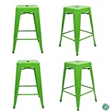 """Set of 4 Metal Bar Stool 24"""" Milani Lawn Green Stackable, Indoor/Outdoor, Counter Stools, Kitchen Bar Stools, Industrial, Galvanized Steel, Counter Stool"""