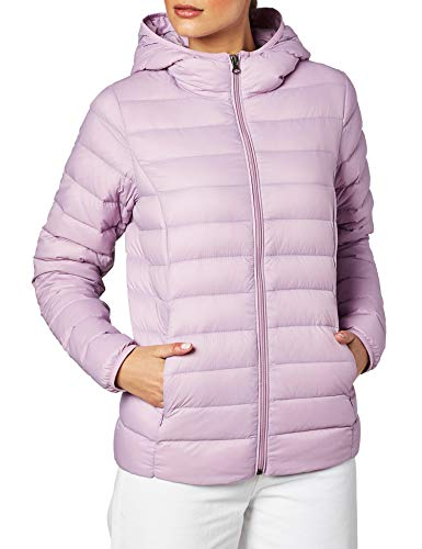 Amazon Essentials Women's Lightweight Water-Resistant Packable Hooded Down Jacket, Purple, X-Small