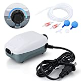 HITOP Dual Outlet Aquarium Air Pump, Whisper Adjustable Fish Tank Aerator, Quiet Oxygen Pump with Accessories for 20 to 100 Gallon (2 outlets)