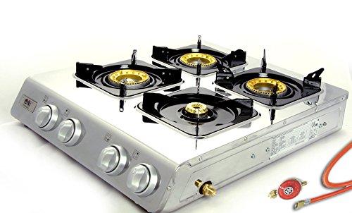 Hochwertiger Edelstahl Gaskocher 4 flammig 12 KW Gasherd Campingkocher WOK Hockerkocher inkl. Gasschlauch-Regler Set