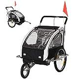 HOMCOM 2 en 1 Remolque de Bicicleta para Niños de 2 Plazas con Amortiguadores Convertible en Carro para Correr con Barra y Kit de Footing 129x85x105cm Blanco