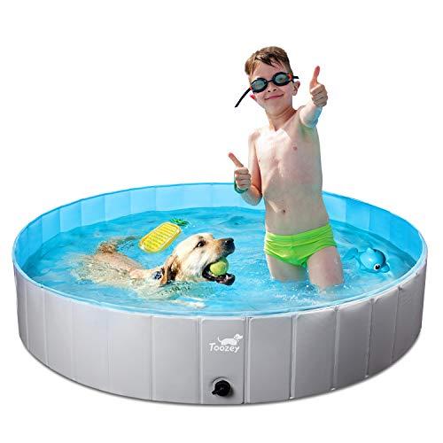 Toozey Foldable Dog Pool, Slip-Resistant Kiddie...