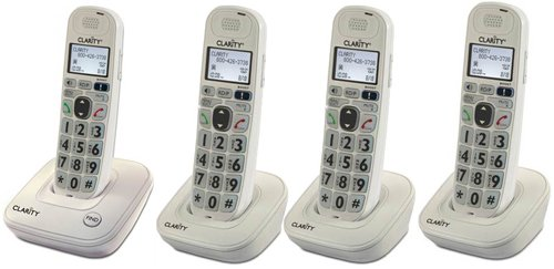 Clarity D704 Moderate Hearing Loss Cordless Phone with D704HS Expandable Handsets (D704 with (3) D704HS)