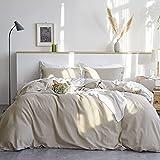 Bedsure Linen Duvet Cover King 55% Cotton 45% Linen Duvet Cover Set - 3 Pieces Comforter Cover Set (104 x 90 inchs,No Comforter Included)